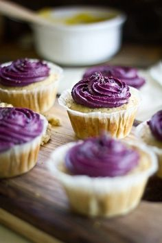 lemon poppy seed cupcakes with lemon curd filling & blueberry cream cheese frosting (my cupcake love continues)