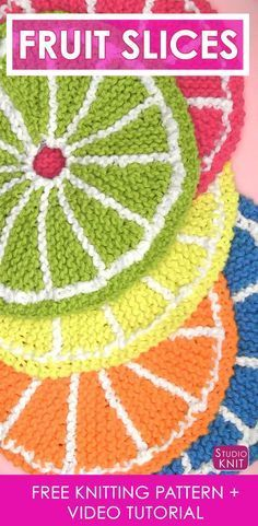 So summery and pretty! Learn How to Knit Fruit Citrus Slices with Easy Free Pattern + Knitting Video Tutorial with Studio Knit.