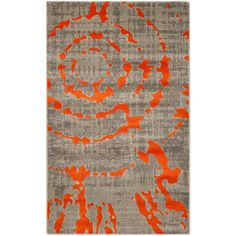 Porcello Light Gray/Orange 3 ft. x 5 ft. Area Rug