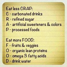 .Less crap, more food!