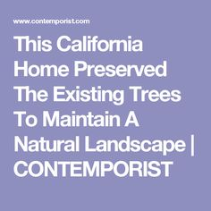 This California Home Preserved The Existing Trees To Maintain A Natural Landscape | CONTEMPORIST
