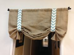 Yellow chevron/Burlap valance /home and by pillowpuff on Etsy