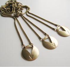 Brass Triangle Shield on Vintage Snake Chain.. $16.00, via Etsy.