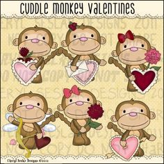 Cuddle Monkey Valentines 1 - Clip Art by Cheryl Seslar