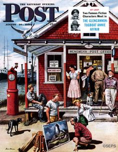 Coastal Post Office by Stevan Dohanos,  August 26, 1950, Saturday Evening Post
