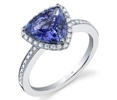 Sylvie Collection tanzanite trillion and diamond ring