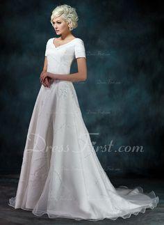 Vestidos princesa/ Formato A Decote V Tribunal Trem Organza de Cetim Vestido de noiva com Bordado Apliques de (002000393)