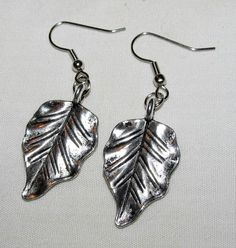 Earrings  Handmade Charming Style Silvering Leaves by CraftyChic90, $2.50
