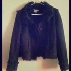 Black Shearling Coat Black shearling jacket.  Worn maybe twice.  Great condition.  Same maker as the white shearling coat.  Size says L, but i am a small and it fits me fine.  just changes the fit.  also, take into consideration that it is an L in japanese sizes, which is a bit smaller than in the states.  from japan Jackets & Coats