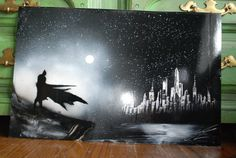 Batman poster Spray Paint Art New York Skyline in Black colors