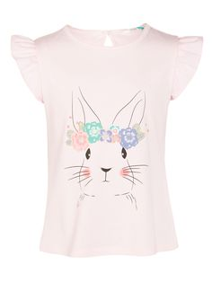 add6667d BuyJohn Lewis Girls' Floral Bunny Print T-Shirt, Pink, 11 years Online