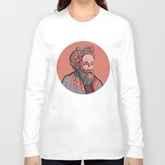 American Apparel long sleeve shirt with portrait of Omar Khayyam, Persian mathematician, astronomer, philosopher, and poet, portrait in red and blue, men's and women's long sleeve shirt.