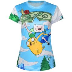 Blue Womens Cartoon Crew Neck Adventure Time Printed T-shirt ($14) ❤ liked on Polyvore featuring tops, t-shirts, cartoon t shirts, cartoon character t shirts, comic book, comic t shirts and crewneck t shirt
