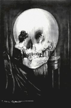 Scarlet Quince - All is Vanity - Charles Allan Gilbert  A charcoal drawing of an elegant lady seated at her vanity admiring her reflection in a large circular mirror. The room is in darkness but candles on the dressing table light up the mirror. The lady, mirror, and bottles on the table form the illusion of a large grinning skull (which also provides a verbal play on the title). (1892)  197w x 300h stitches 25 colors (DMC floss)