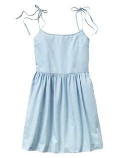 Strappy chambray fit & flare dress Product Image