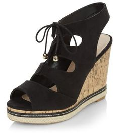 Wide Fit Black Suedette Ghillie Wedges