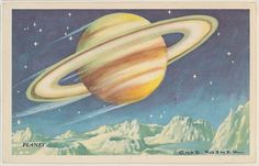 Planet, bakery card from the Speed Pictures series (D39-8), issued by Bell Bakeries, Inc, 1940s. Commercial color lithograph. The Metropolitan Museum of Art, New York. The Jefferson R. Burdick Collection, Gift of Jefferson R. Burdick (Burdick 307, D39-8.8). #CosmicWonders #MetonPaper100