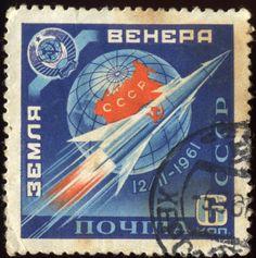 Earth - Venera - 12.11.1961, Soviet stamp commemorating the launch of Venera 1