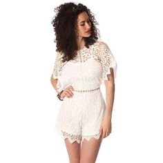 White crochet lace playsuit with open back detail