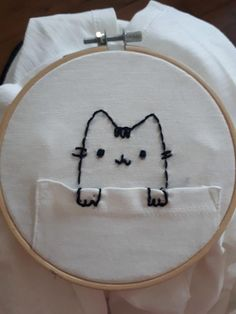 I love Pusheen and promote him on my artsy, fartsy drawing board ^. I love Pusheen and promote him on my artsy, fartsy drawing board. I love Pusheen and promote him on my artsy, fartsy drawing board. Embroidery Materials, Hand Embroidery Stitches, Hand Embroidery Designs, Diy Embroidery, Embroidery Techniques, Cross Stitch Embroidery, Machine Embroidery, Embroidery Sampler, Beginner Embroidery