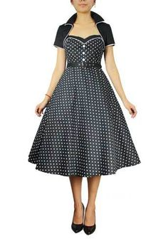 50's BLACK & WHITE DOT PinUp Rockabilly Belted Swing Dress WITH Bolero SZ 6-16