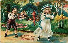 Thanksgiving 1908 Boy Girl Carrying Dead Turkey Home Vintage Embossed Postcard