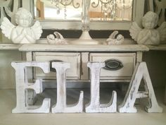 LARGE SHABBY CHIC VINTAGE WHITE WOODEN BABY KIDS NAMES INITIALS LETTERS 15CM H
