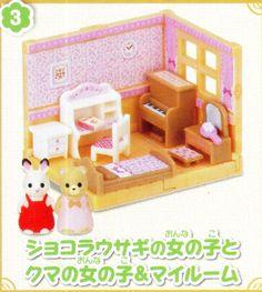 Epoch Gashapon Capsule Sylvanian Families Home Furniture Part 5 Full Set 4 pcs