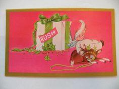 Vintage Christmas Greeting Card Unused Pink Angels by Eve Rockwell