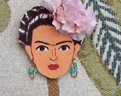 Frida Kahlo brooch in peach. -    Edit Listing  - Etsy