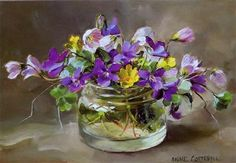 Wild Violet and Wood Sorrel - Blank Card | Mill House Fine Art – Publishers of Anne Cotterill Flower Art