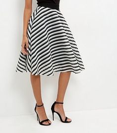 918dce280 Womens black and white monochrome mesh stripe skater skirt from New Look -  £29.99 at