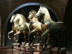 """The Horses of St Mark, Venice - Ancient bronzes taken from the Hippodrome of Constantinople in the Sack of Saints, Fair Grounds, Bronze, Horses, Antiques, Travel, Animals, Twitter, Venice"
