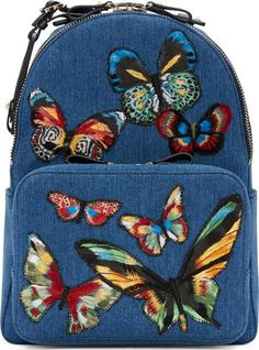blue denim embroidered butterflies backpack. Valentino Blue Denim Embroidered Butterflies Backpack. Denim backpack in blue. Grained leather trim and signature pyramid stud detailing throughout. Carry handle. #Valentino #GoldTone,Blue #Backpacks #SSENSE #Women #fashion #obsessory #fashion #lifestyle #style #myobsession #handbags #bags #accessory #trend #ss17 #fallwinter #lifestyle #stylish #luxury #luxuryfashion #accessories #dresstoimpress