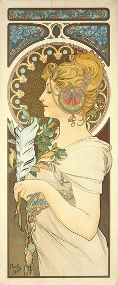 Alphonse Mucha - Art nouveau illustration Feather(La Plume) - Giclee Print Reproduction  To see more of beautiful Art Nouveau movement posters in