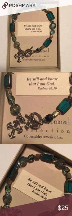 Inspirational bracelet Turquoise, silver and gold colored beads.  Be still and know that I am God... stunning Bracelet. Jewelry Bracelets