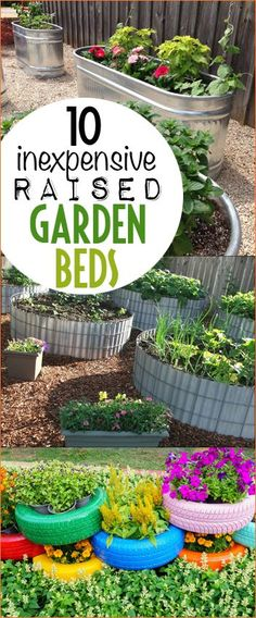 Inexpensive DIY Raised Flower Beds. Tire, wire and wood raised garden boxes. Inexpensive raised garden and flower boxes for large and small yards.