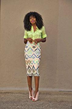 Neon Blouse + Aztec Print Sequinned Midi Skirt - Miko wears so dinner Fashion Mode, Work Fashion, Fashion Looks, Womens Fashion, Street Fashion, Jw Mode, Mode Outfits, Fashion Outfits, Work Attire
