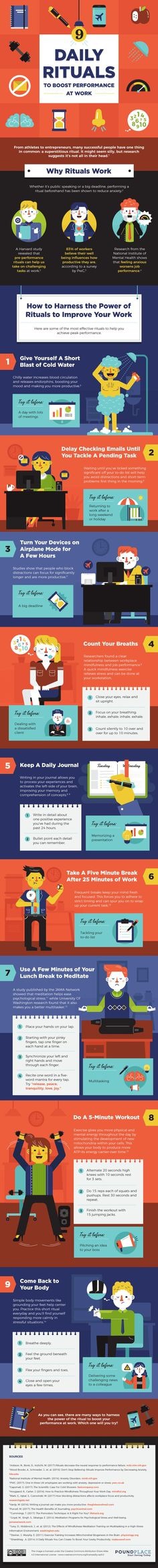Entrepreneur tips: Incorporating these habits helps you conquer your day. Try a few of the 9 daily rituals on this infographic, and click to blog for more tips for small business owners and bloggers! #entrepreneurship #habits #businessowner #mindfulness #bloggers #infographic