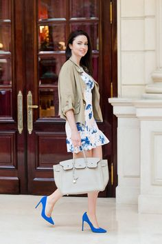 Zara White, Nude And Blue Summer Floral Mini Dress