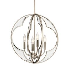 "Clear and beveled glass panels add instant elegance and glamor to this 4 light chandelier from the Montavello collection's transitional orb design in Polished Nickel.  Weight:	8.60 LBS Chain/Stem Length:	36.00"" Safety Rated:	Dry Base Backplate:	5.00 DIA Overall Height:	58.00"" Collection:	Montavello Collection Width:	18.75"" Height:	19.50"" Lamp Included:	Not Included Lead Wire Length:	58.00"" Glass Description:	Clear Beveled Voltage:	120 V Light Source:	Incandescent Socket Base:	..."