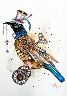 Steampunk Tui Bird art by www.fiona-clarke.com