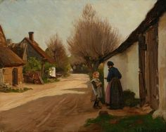 """Village road with grandmother and grandchild"" by Hans Andersen Brendekilde – Danish)"