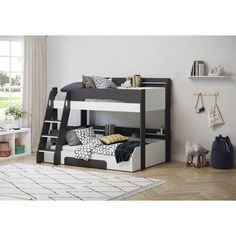 Lilly Single Bunk Bed with Drawers and Shelves Isabelle & Max Colour: Grey/White Triple Sleeper Bunk Bed, High Sleeper Bed, Triple Bunk Beds, Bed Frame With Drawers, Bunk Beds With Drawers, Under Bed Drawers, Convertible Toddler Bed, Single Bunk Bed, Bed Shelves