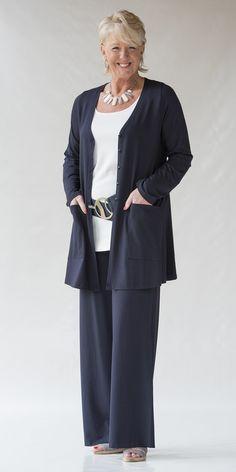 Yoek navy jersey jacket, trouser and cream vest:
