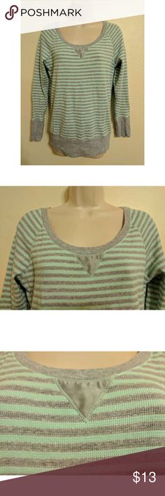 """Victoria Secret Pink  M grey/teal metallic top LS Material 93% Cotton 2% elastane 5% other (noted like tag), length 22.5"""", sleeve length 25.5"""", bust 34"""", waist 33"""", Gray strip is outlined with a thin metallic strip and Vneck on the collar has a silky feel PINK Victoria's Secret Tops Tees - Long Sleeve"""
