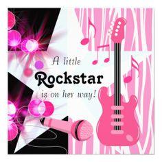 Hot Pink Zebra Rockstar Baby Girl Shower Personalized Invitations