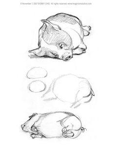 Animal Sketches, Animal Drawings, Art Sketches, Pig Drawing, Painting & Drawing, Cartoon Drawings, Cute Drawings, Pig Character, Character Design