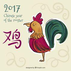 Fundo desenhado mão para o ano novo chinês com galo colorido Vetor grátis