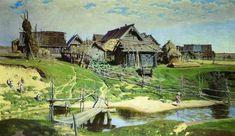 Russian village, 1889, Vasiliy Polenov. #russia #art #drawing #polenov